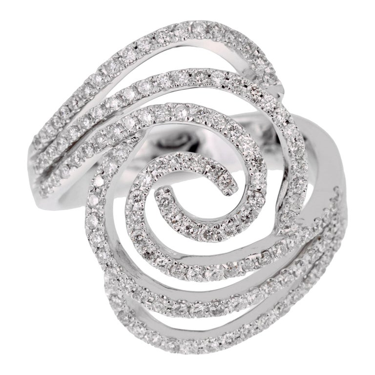 Modern Ladies White Gold Diamond Cocktail Ring For Sale