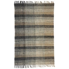 Modern Lake House Cabin Style Dhurrie, Striped Flat-Weave Rug