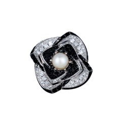 Modern, Large 9 Carat Flower Ring, Diamonds, Black Spinel and More