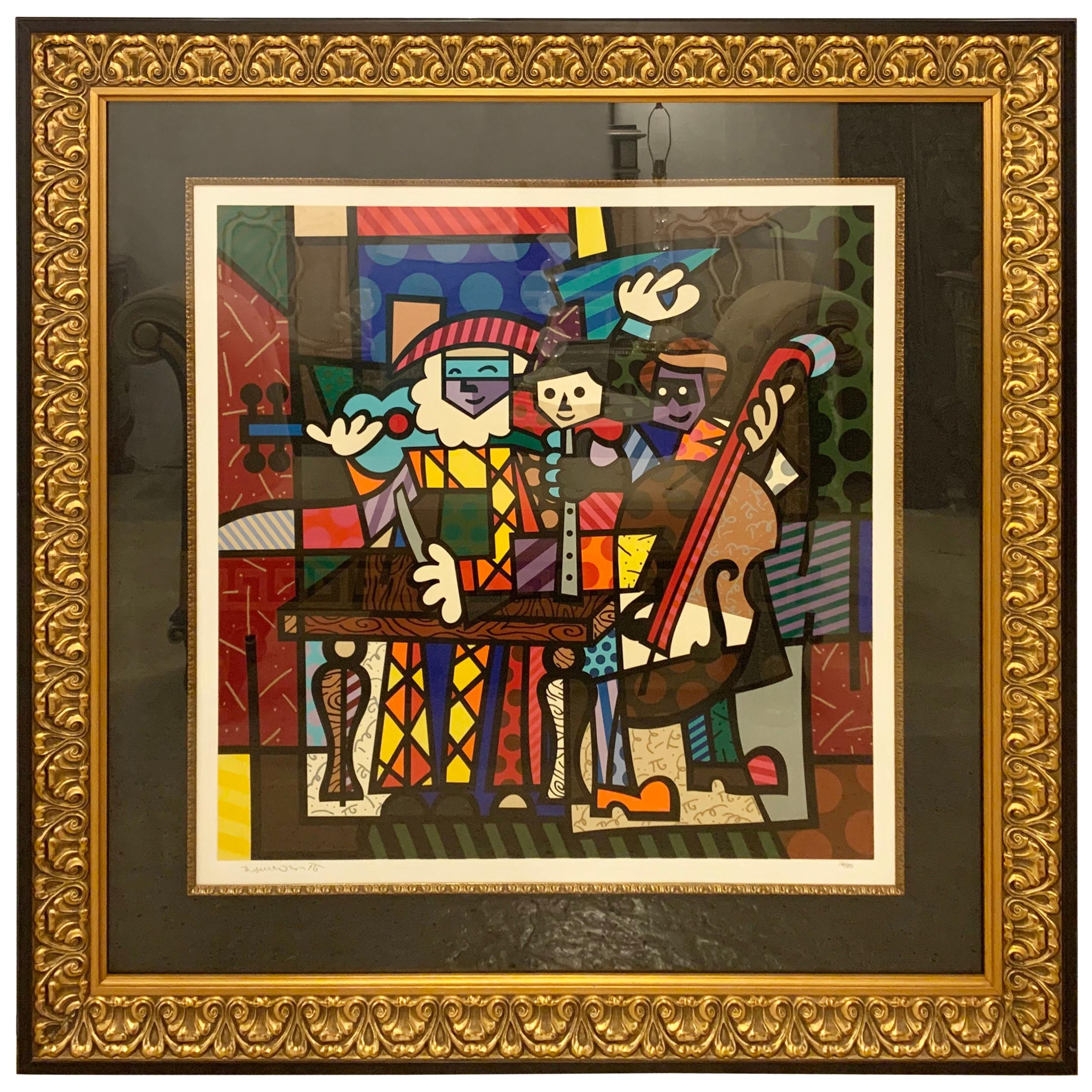 Modern Large Colorful Signed Print of Musicians