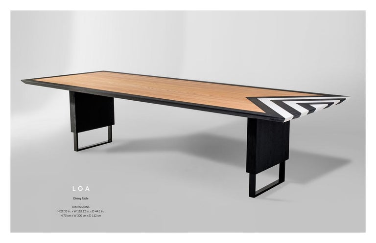 Modern Large Dining Table in Black, White and Natural Oak, 118'' -  10 seater  For Sale 2