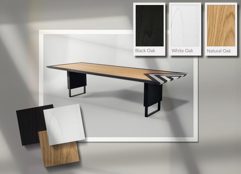 Modern Large Dining Table in Black, White and Natural Oak, 118'' -  10 seater  For Sale 3