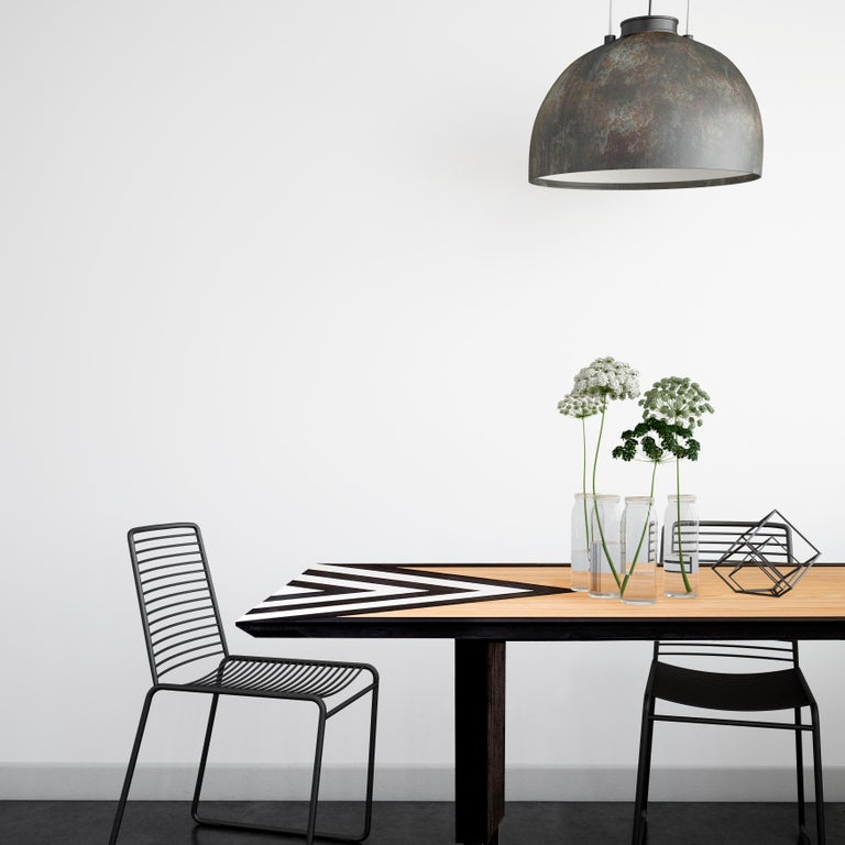 Brazilian Modern Large Dining Table in Black, White and Natural Oak, 118'' -  10 seater  For Sale