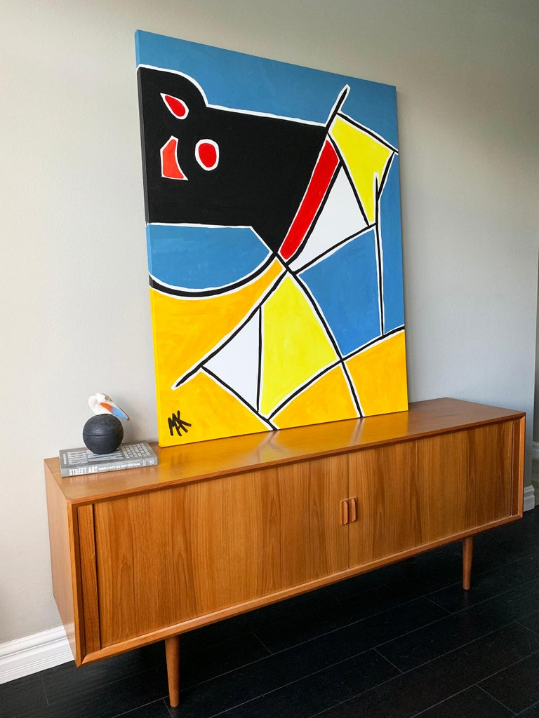 American Modern Large Format Geometrical Abstract Painting by Mak, 2019 For Sale