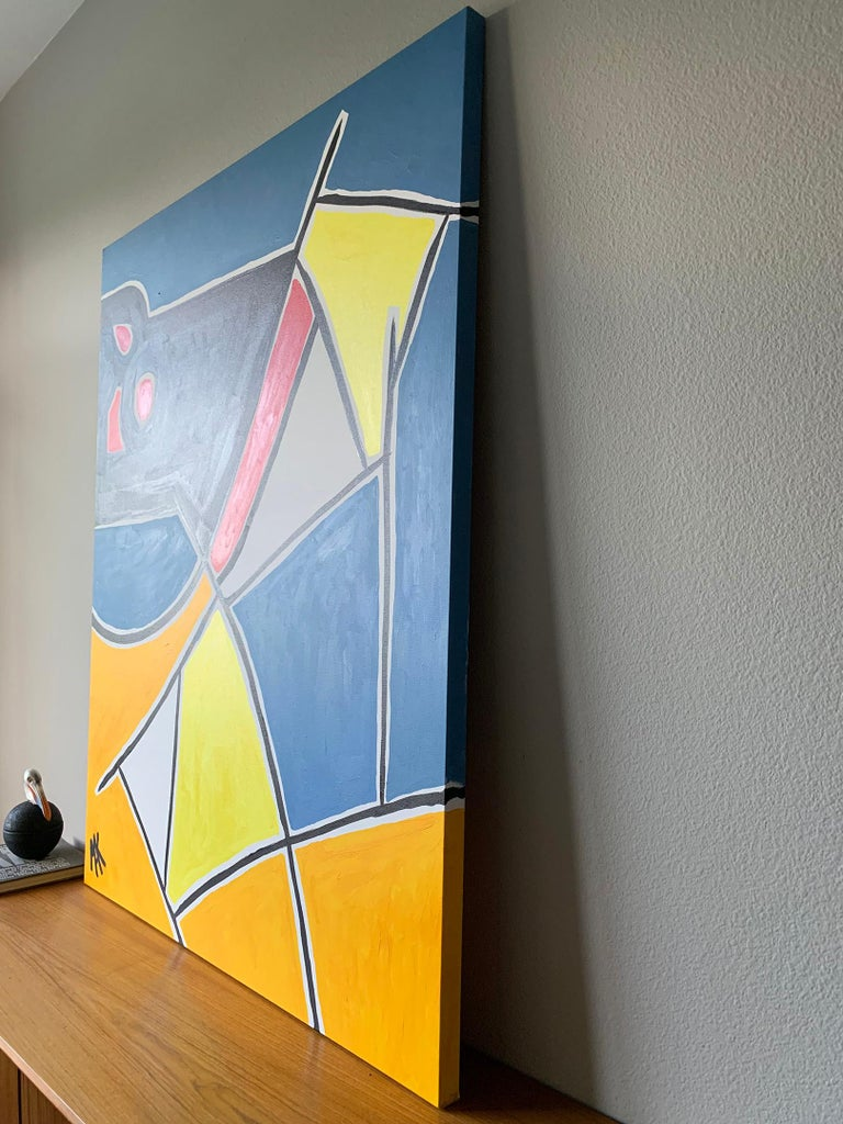 Modern Large Format Geometrical Abstract Painting by Mak, 2019 In Good Condition For Sale In Las Vegas, NV