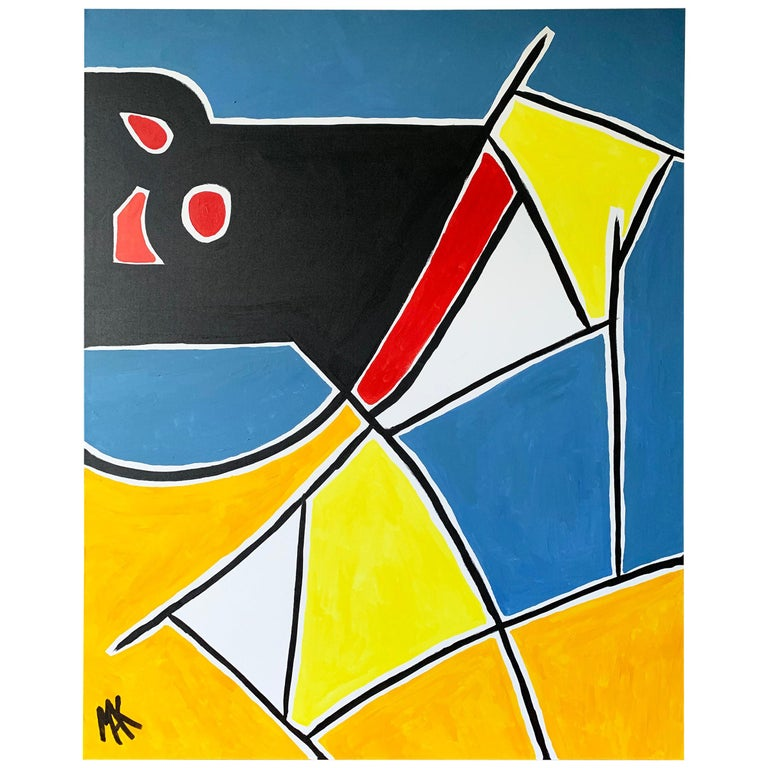 Modern Large Format Geometrical Abstract Painting by Mak, 2019 For Sale