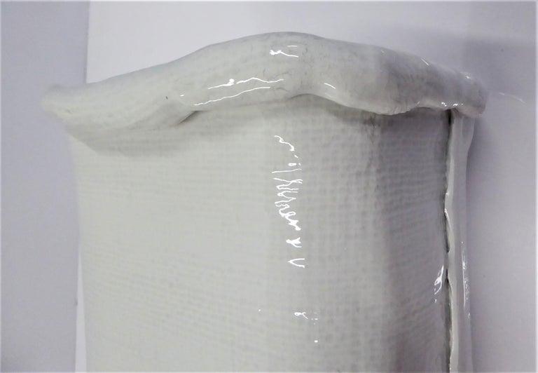 Modern Large Hand Made Textured Ceramic Freeform Paper Bag Vase, Italy, 1970s For Sale 3