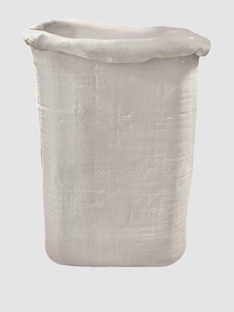 Modern Large Hand Made Textured Ceramic Freeform Paper Bag Vase, Italy, 1970s For Sale 10