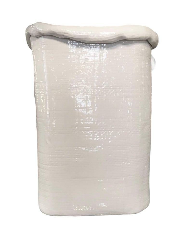 Modern Large Hand Made Textured Ceramic Freeform Paper Bag Vase, Italy, 1970s For Sale 11