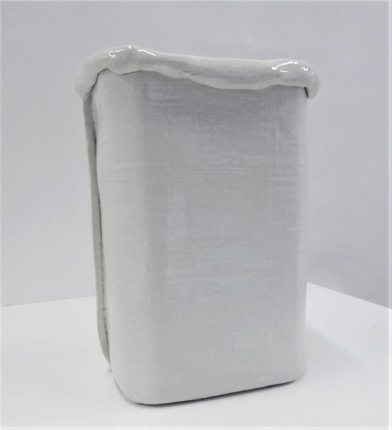 Mid-Century Modern Modern Large Hand Made Textured Ceramic Freeform Paper Bag Vase, Italy, 1970s For Sale