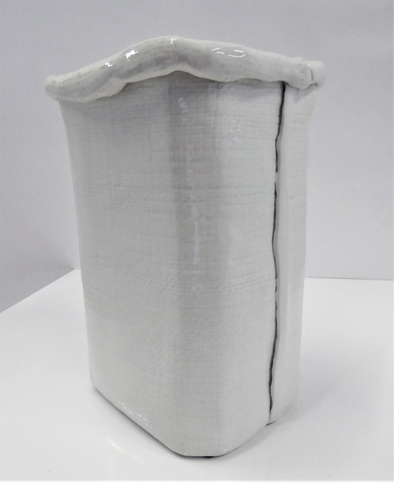 Italian Modern Large Hand Made Textured Ceramic Freeform Paper Bag Vase, Italy, 1970s For Sale