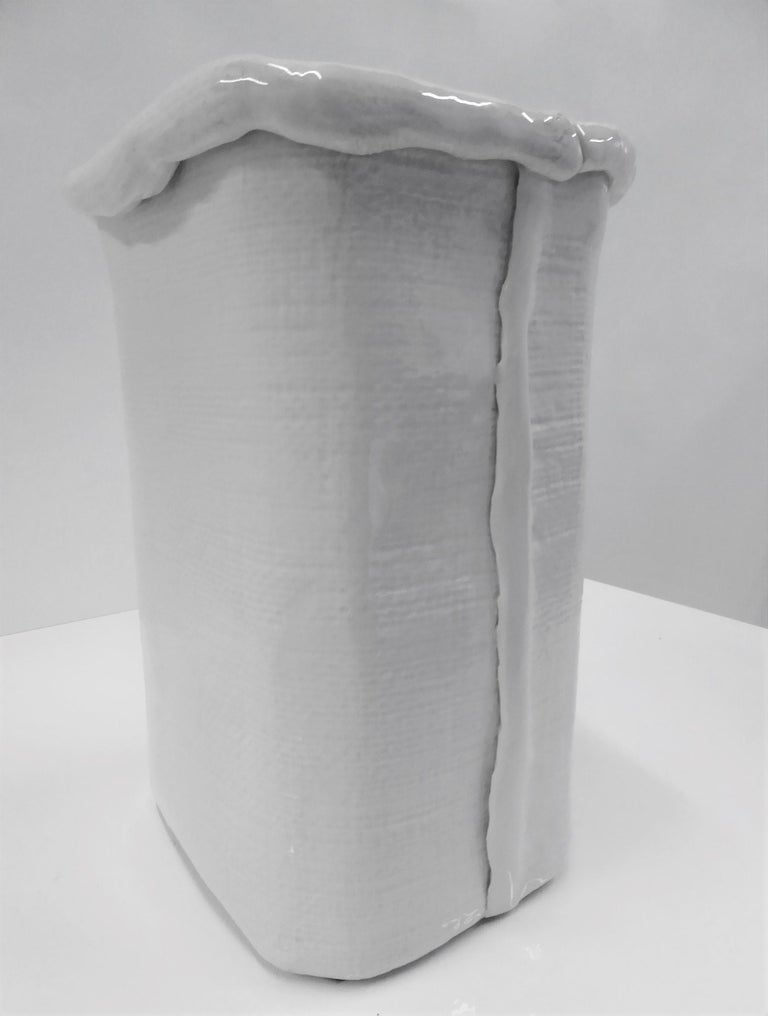 Hand-Crafted Modern Large Hand Made Textured Ceramic Freeform Paper Bag Vase, Italy, 1970s For Sale