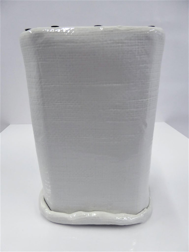 Late 20th Century Modern Large Hand Made Textured Ceramic Freeform Paper Bag Vase, Italy, 1970s For Sale