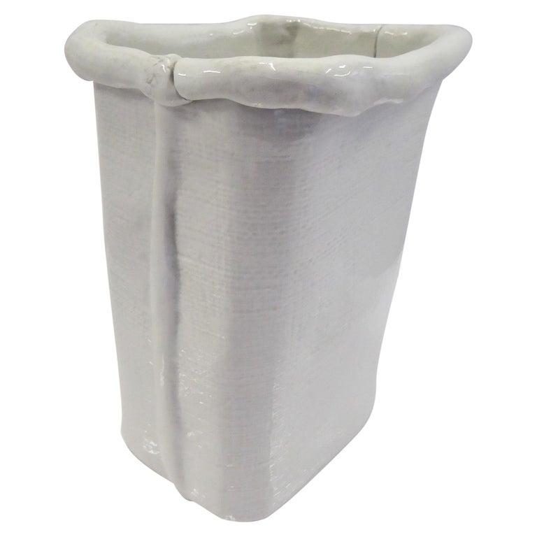 Modern Large Hand Made Textured Ceramic Freeform Paper Bag Vase, Italy, 1970s For Sale