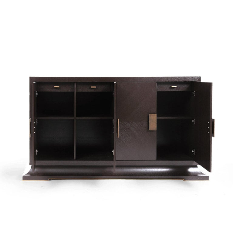 European Modern Large Sideboard with Hand Hammered Brass Handles and Hidden Drawers For Sale