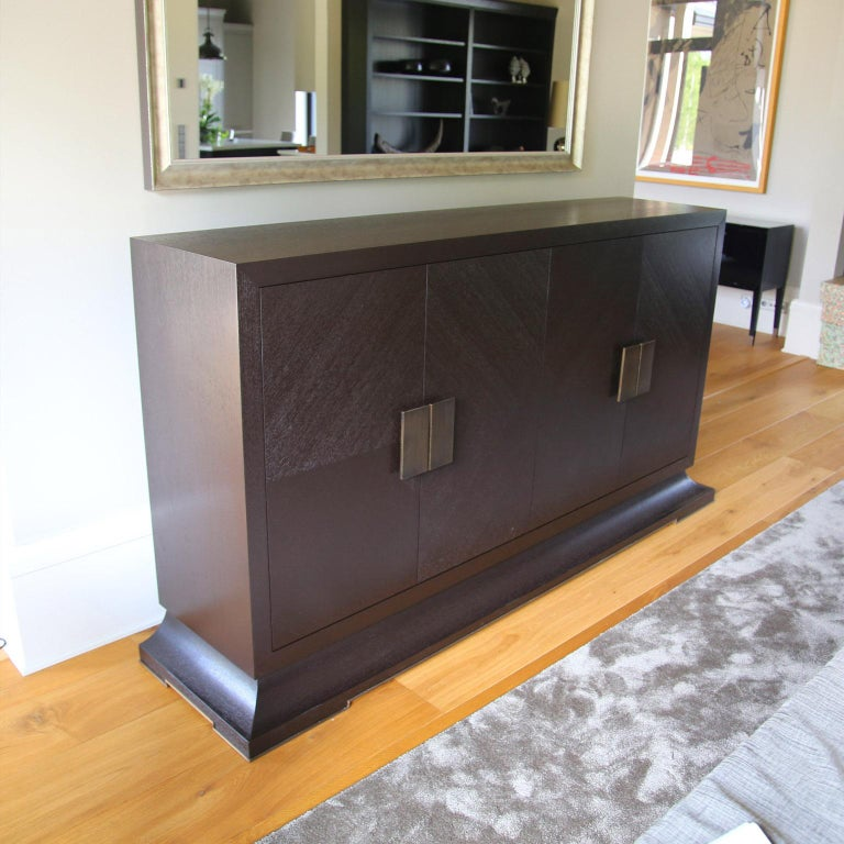 Contemporary Modern Large Sideboard with Hand Hammered Brass Handles and Hidden Drawers For Sale