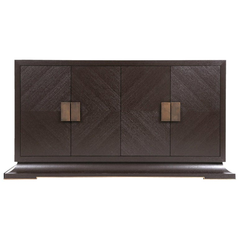 Modern Large Sideboard with Hand Hammered Brass Handles and Hidden Drawers For Sale