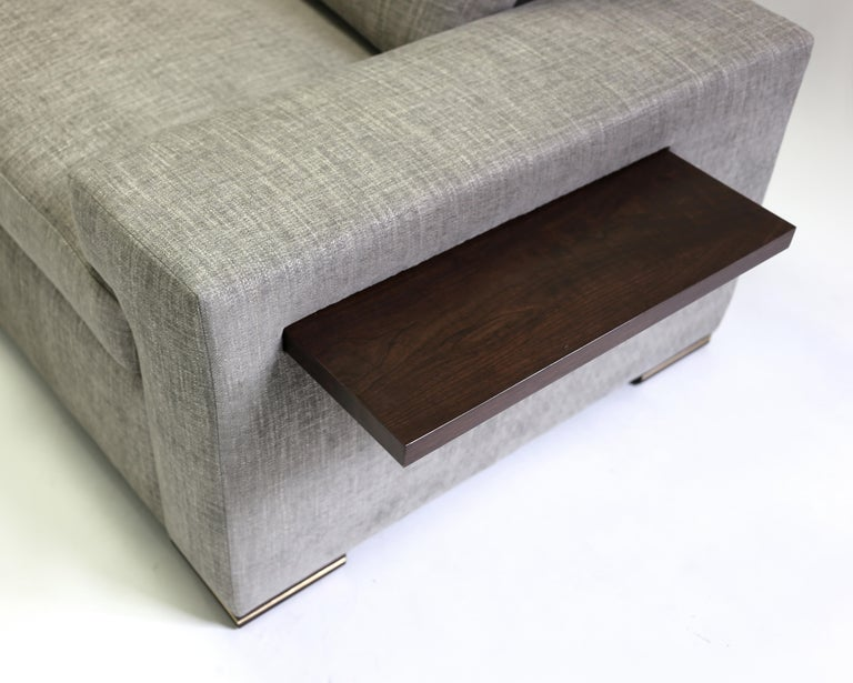 Hand-Crafted Modern Large Sofa with Large Pull Out Table and Metal Details on Wood Legs For Sale