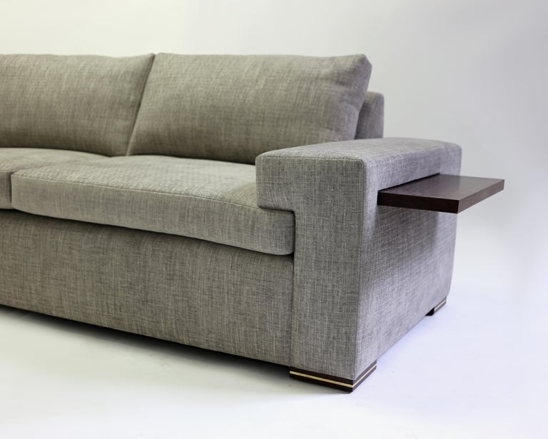 Modern Large Sofa with Large Pull Out Table and Metal Details on Wood Legs In New Condition For Sale In Brooklyn, NY
