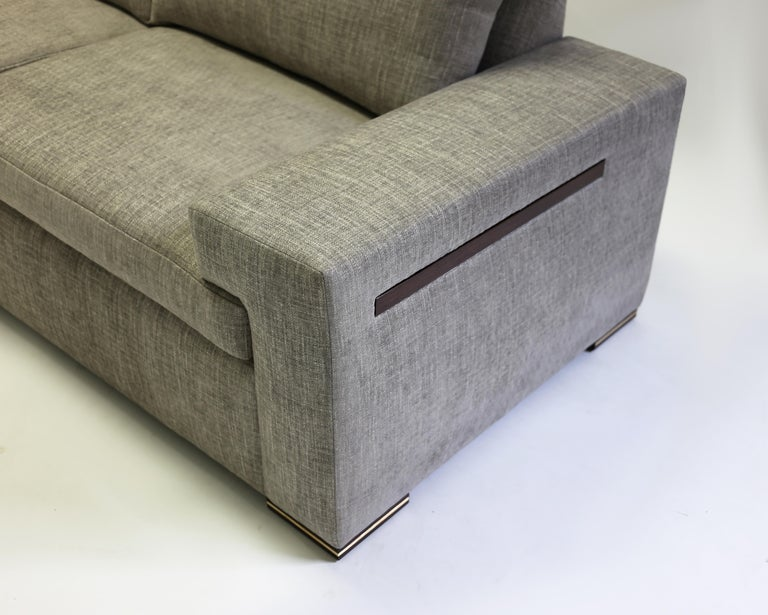 Contemporary Modern Large Sofa with Large Pull Out Table and Metal Details on Wood Legs For Sale