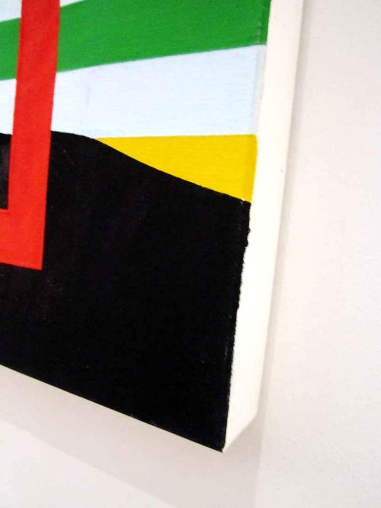 Modern Large Square Acrylic Painting on Canvas by P. Delhom, French Artist 1990s For Sale 1
