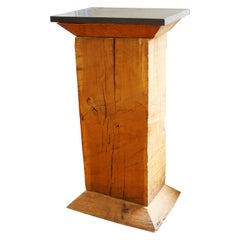 Modern Large Wooden Pedestal With Black Stone Top