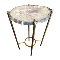 Modern Lavender and White Quartz Tea Table