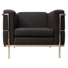 Modern Le Corbusier for Jack Cartwright LC3 Style Black and Chrome Armchair
