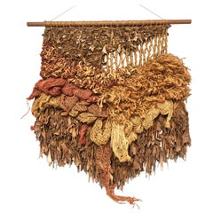 Modern Leather and Natural Fibers Wall Sculpture, 1970s
