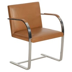 Modern Leather and Steel Brno Lounge Armchair by Mies van der Rohe for Knoll