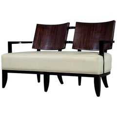 Modern Leather Art Deco Style Settee Sofa Bench