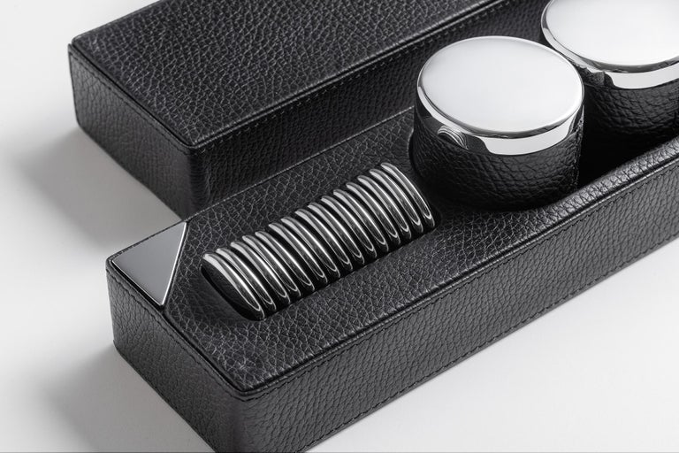 Italian Modern Leather Backgammon Chip Game Set Box by Impatia For Sale
