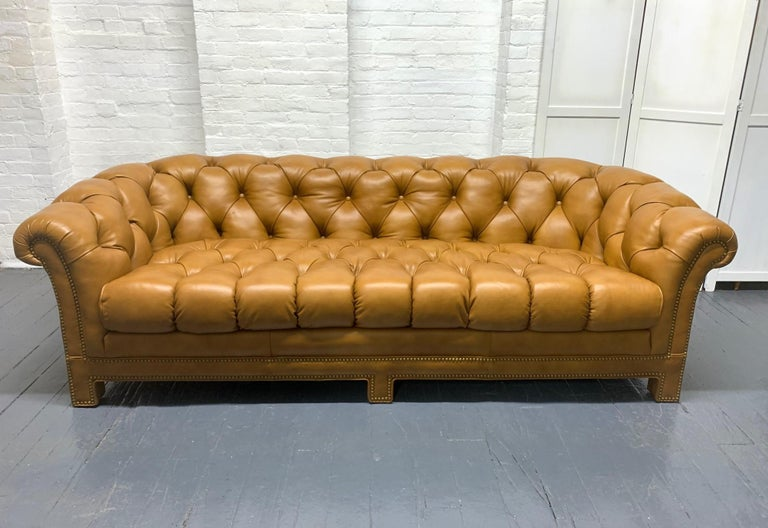American Modern Leather Chesterfield Style Sofa For Sale