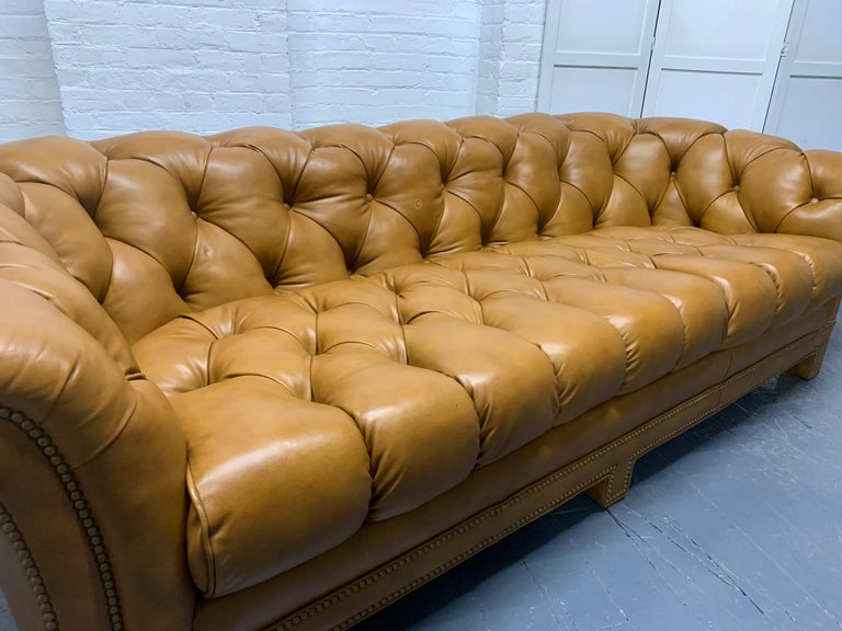 Modern Leather Chesterfield Style Sofa In Good Condition For Sale In New York, NY