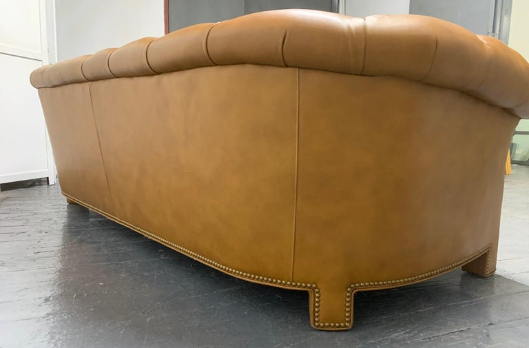 Late 20th Century Modern Leather Chesterfield Style Sofa For Sale
