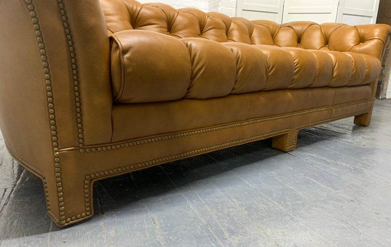 Brass Modern Leather Chesterfield Style Sofa For Sale