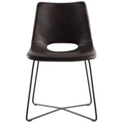 Modern Leather Dining Chair With Black Steel Legs