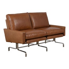 Modern Leather Love-Seat in the Manner of Paul Kjaerholm