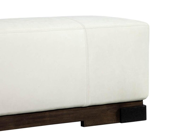 Contemporary Modern Leather Ottoman by Kara Mann For Sale