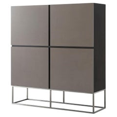 Modern Leather Paneled Cabinet