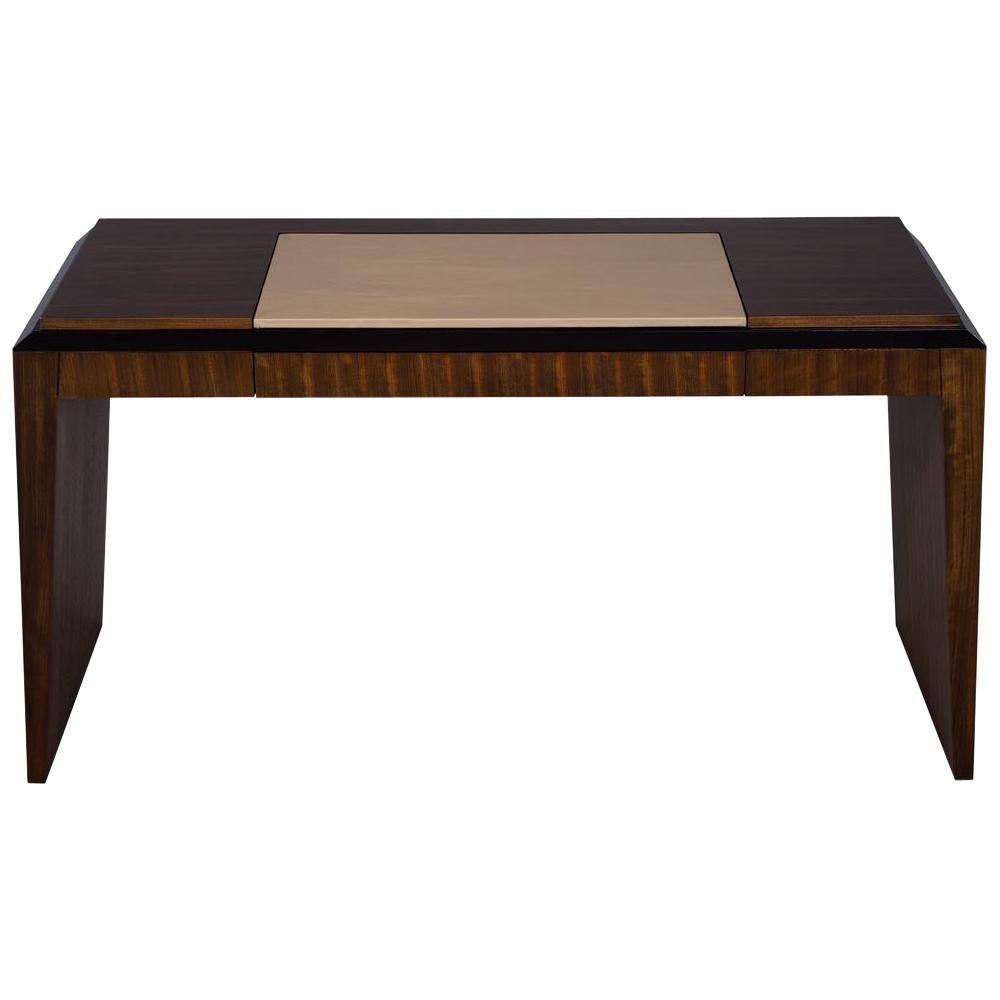 Modern Leather Top Desk in Zebra Wood