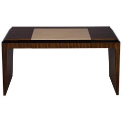 Modern Leather Top Desk in Zebra Wood