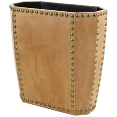 Modern Leather Waste Paper Basket