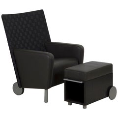 Modern Leather and Woven-Back Lounge Armchair with Ottoman, 21st Century