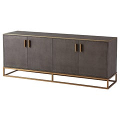 Modern Leather Wrapped Media Console, Dark Tempest
