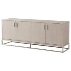 Modern Leather Wrapped Media Console