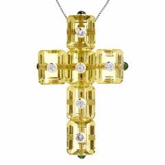 Modern Lemon Topaz Green Tourmaline White Gold Cross Pendant