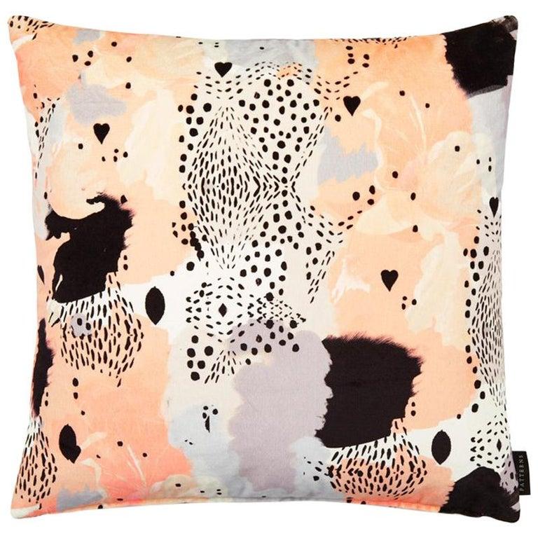 Modern Leopard Print Cotton Velvet Cushion by 17 Patterns For Sale
