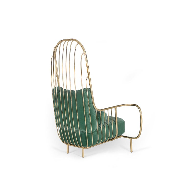 """1. Product description:  The """"Liberty"""" high back armchair is made with folded hand polished brass tubes. They are welded and treated by jewellers and silversmiths so that the welds are imperceptible. The brass is hand polished for hours until its"""