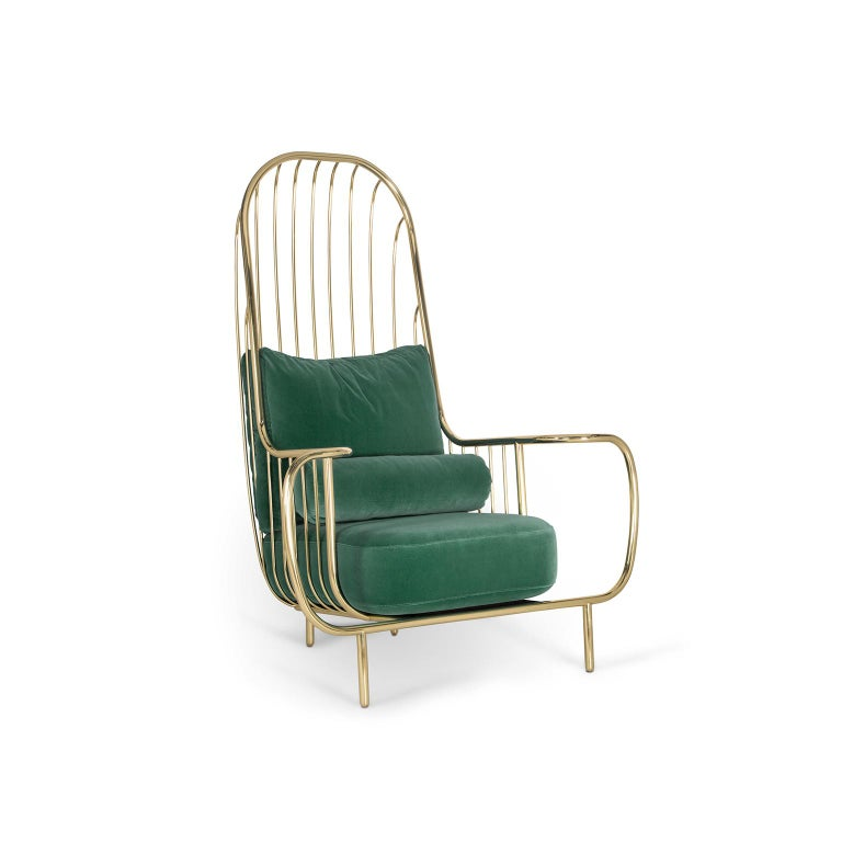 Portuguese Modern Liberty Armchair High Back in Polished Brass and Green Velvet Cushions For Sale